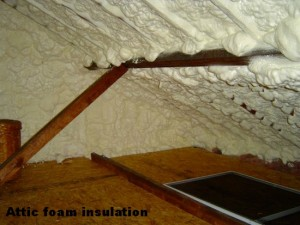 Attic foam insulation